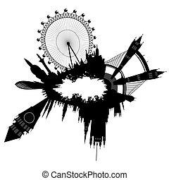 Grunge London skyline - vector