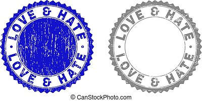 Grunge LOVE & HATE Scratched Stamps