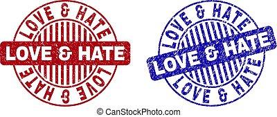 Grunge LOVE & HATE Textured Round Watermarks