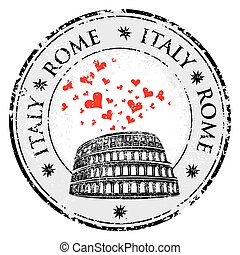 Grunge love heart stamp with Colosseum and the word Rome, Italy inside, vector travel illustration