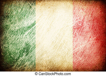 grunge, lucidato, serie, italy., bandiera, backgrounds.
