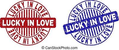Grunge LUCKY IN LOVE Scratched Round Stamp Seals