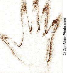 grunge, mão