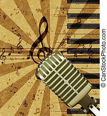 grunge, música, fundo, com, microfone