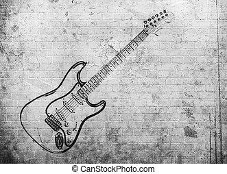 grunge, música rocha, cartaz, ligado, parede tijolo