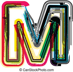 grunge, m, färgrik, brev