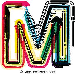 grunge, m, kleurrijke, brief