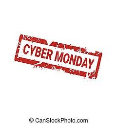 grunge, maandag, postzegel, cyber, rubber, achtergrond, witte