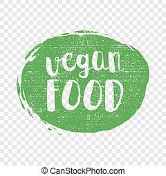 grunge, mad, mærkaten, logotype, illustration, hånd, vektor, grønne, vegan, stram