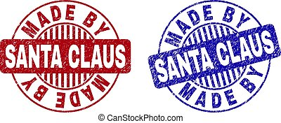 Grunge MADE BY SANTA CLAUS Textured Round Stamp Seals