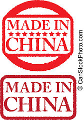 Grunge made in china rubber stamp,