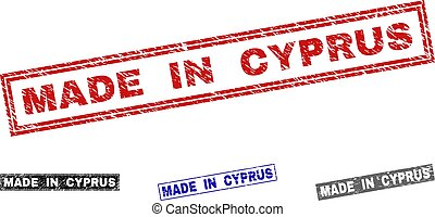 Grunge MADE IN CYPRUS Scratched Rectangle Stamps