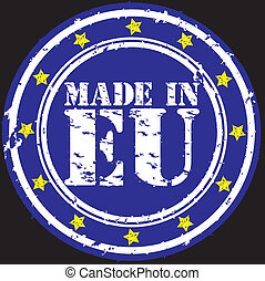 Grunge made in European Union rubber stamp, vector