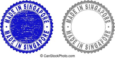 Grunge MADE IN SINGAPORE Scratched Stamp Seals