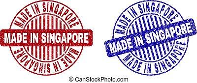 Grunge MADE IN SINGAPORE Textured Round Stamp Seals