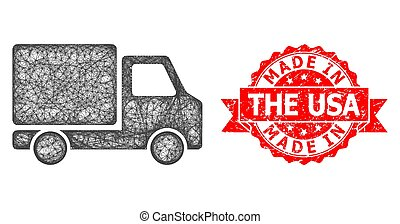 Grunge Made in the USA Stamp and Linear Delivery Car Icon