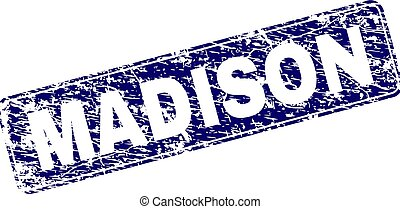 Grunge MADISON Framed Rounded Rectangle Stamp