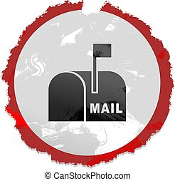 grunge mailbox sign - Grunge style mail box sign isolated on...