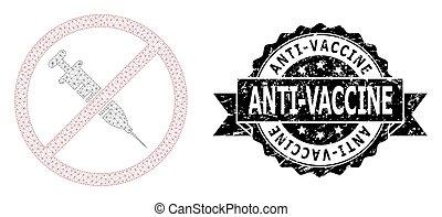 grunge, maille, arrêt, anti-vaccine, ruban, watermark, ...