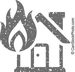 grunge, maison, -, brûler, icône