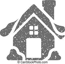 grunge, maison, -, hiver, icône