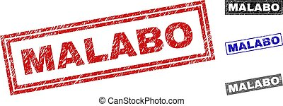 Grunge MALABO Textured Rectangle Stamps