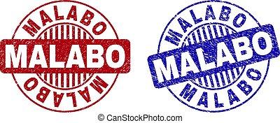 Grunge MALABO Textured Round Stamp Seals
