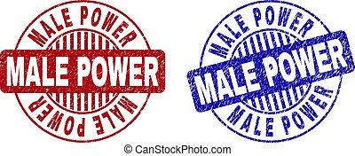 Grunge MALE POWER Textured Round Stamps - Grunge MALE POWER...