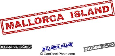 Grunge MALLORCA ISLAND Scratched Rectangle Watermarks -...