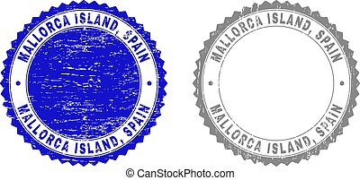 Grunge MALLORCA ISLAND, SPAIN Scratched Stamps - Grunge...