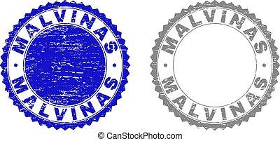 Grunge MALVINAS Scratched Stamps