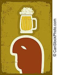 grunge, man, beer., vektor, affisch
