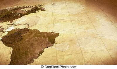 grunge, manchado, mapa, de, mundo