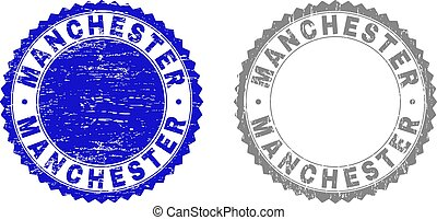 Grunge MANCHESTER Textured Stamps