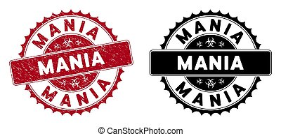 Grunge Mania Rounded Red Stamp Seal