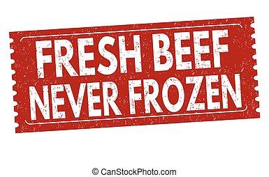 grunge, manzo, congelato, mai, bollo gomma, fresco