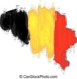 Grunge map of Belgium with Belgian flag