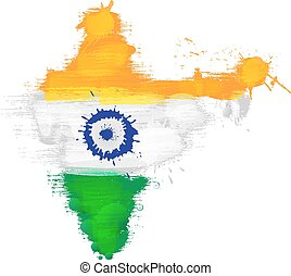 Grunge map of India with Indian flag