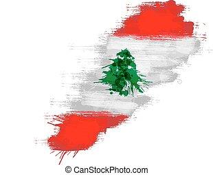 Grunge map of Lebanon with Lebanese flag