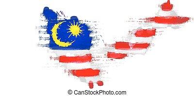 Grunge map of Malaysia with Malaysian flag