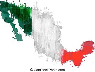 Grunge map of Mexico with Mexican flag