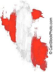 Grunge map of Peru with Peruan flag