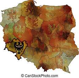 grunge map of provinces in poland with dolnoslaskie most visible
