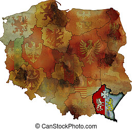 grunge map of provinces in poland with podkarpackie most visible