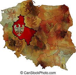 grunge map of provinces in poland with wielkopolskie most visible