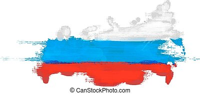 Grunge map of Russian Federation with Russian flag