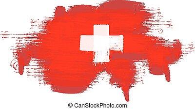Grunge map of Switzerland with Swiss flag