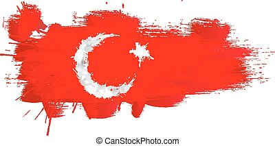 Grunge map of Turkey with Turkish flag