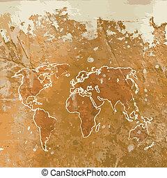 Grunge map on wall.