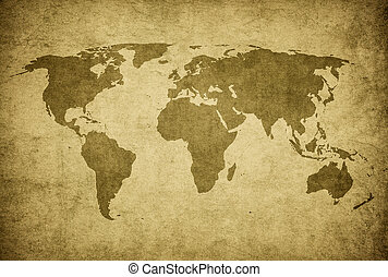 grunge, mapa, de, el mundo